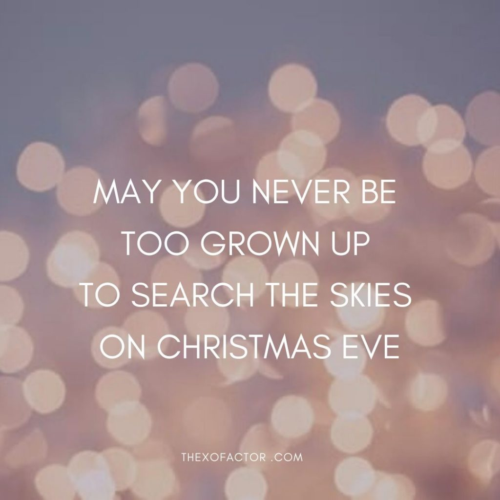 May you never be too grown up to search the skies on Christmas eve.