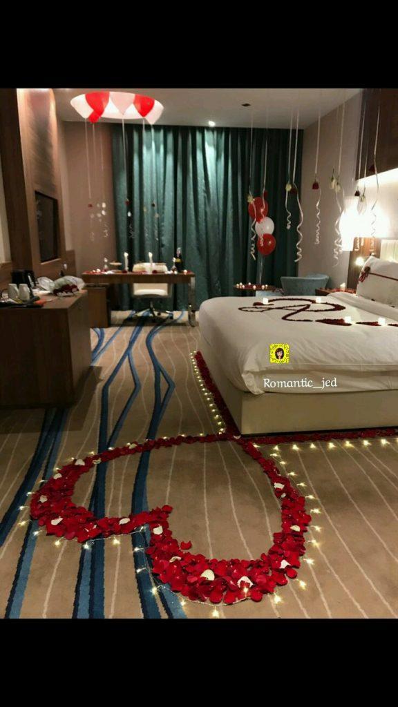 valentine's day bedroom setup