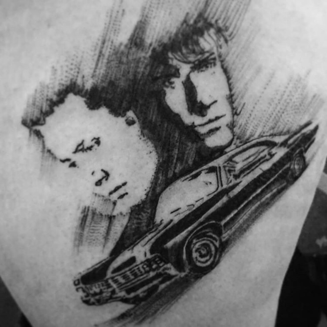 Sam , Dean and Baby tattoo