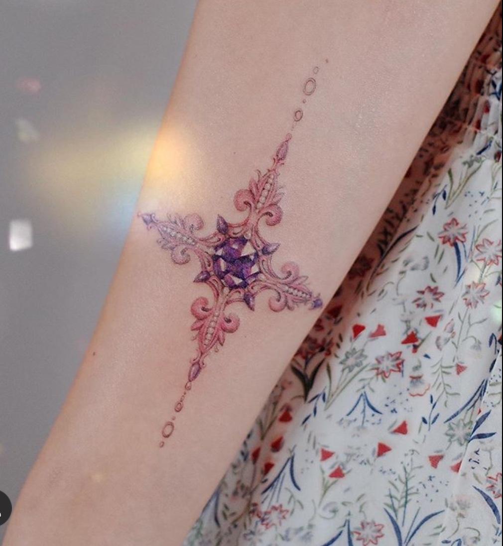 cross gem tattoo