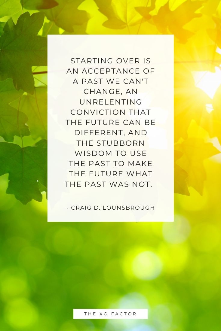Starting over is an acceptance of a past we can't change, an unrelenting conviction that the future can be different, and the stubborn wisdom to use the past to make the future what the past was not.      - Craig D. Lounsbrough