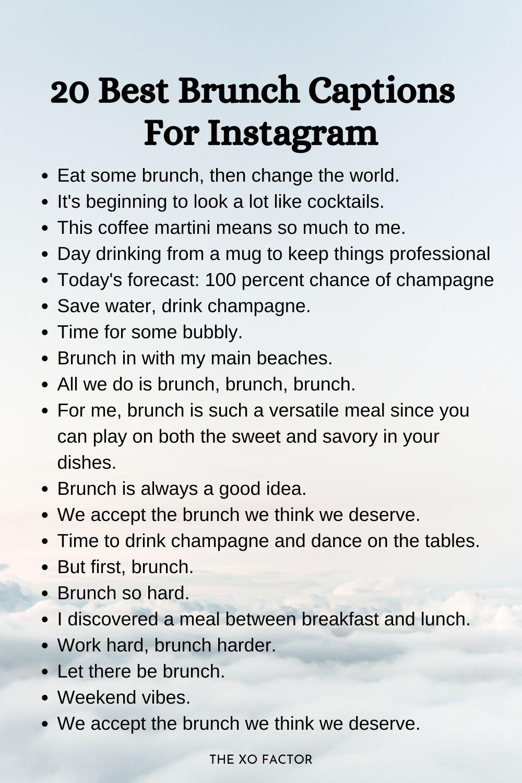 20 best brunch captions for Instagram