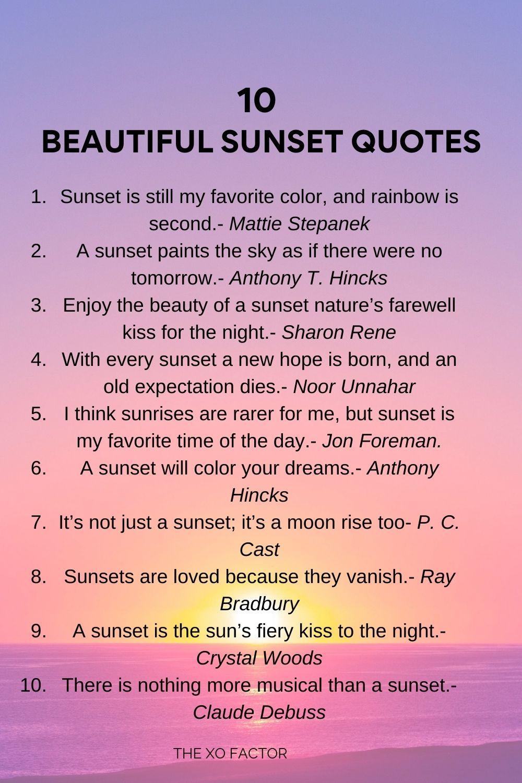 10 beautiful sunset quotes