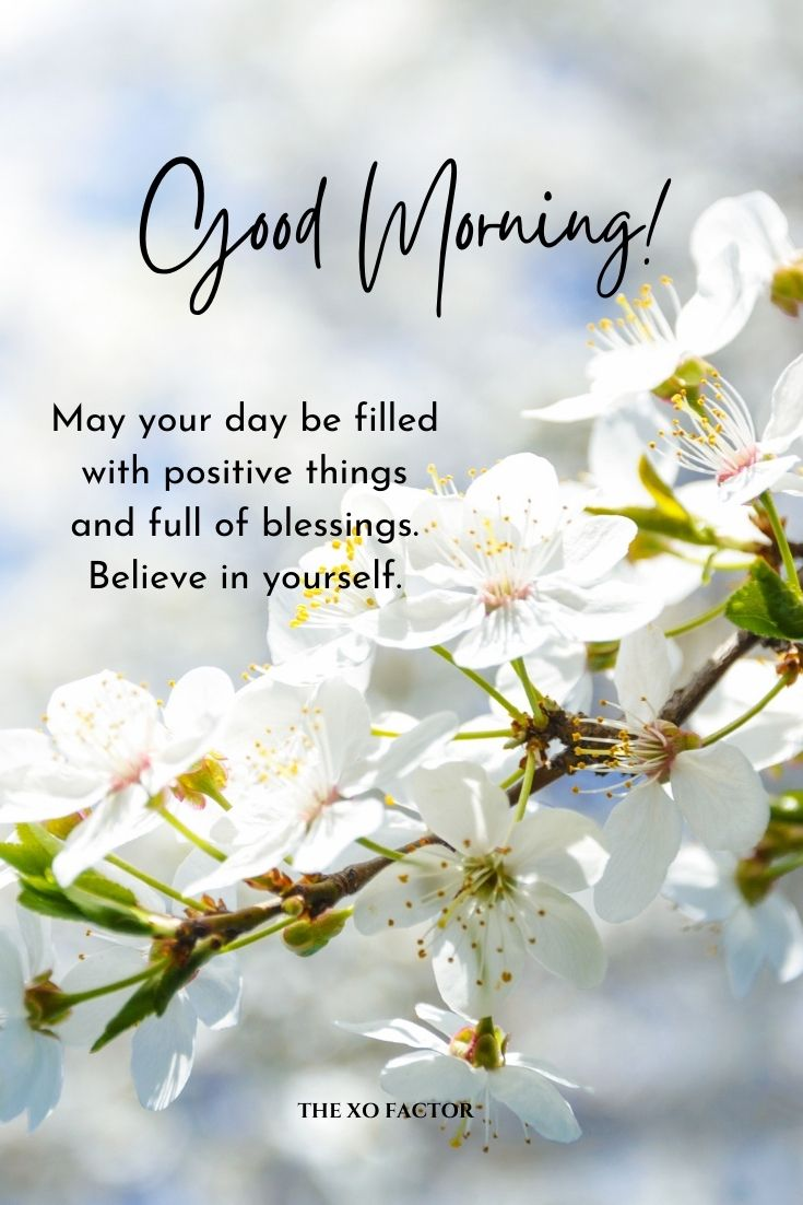 Good morning! May your day be filled with positive things and full of blessings. Believe in yourself.
