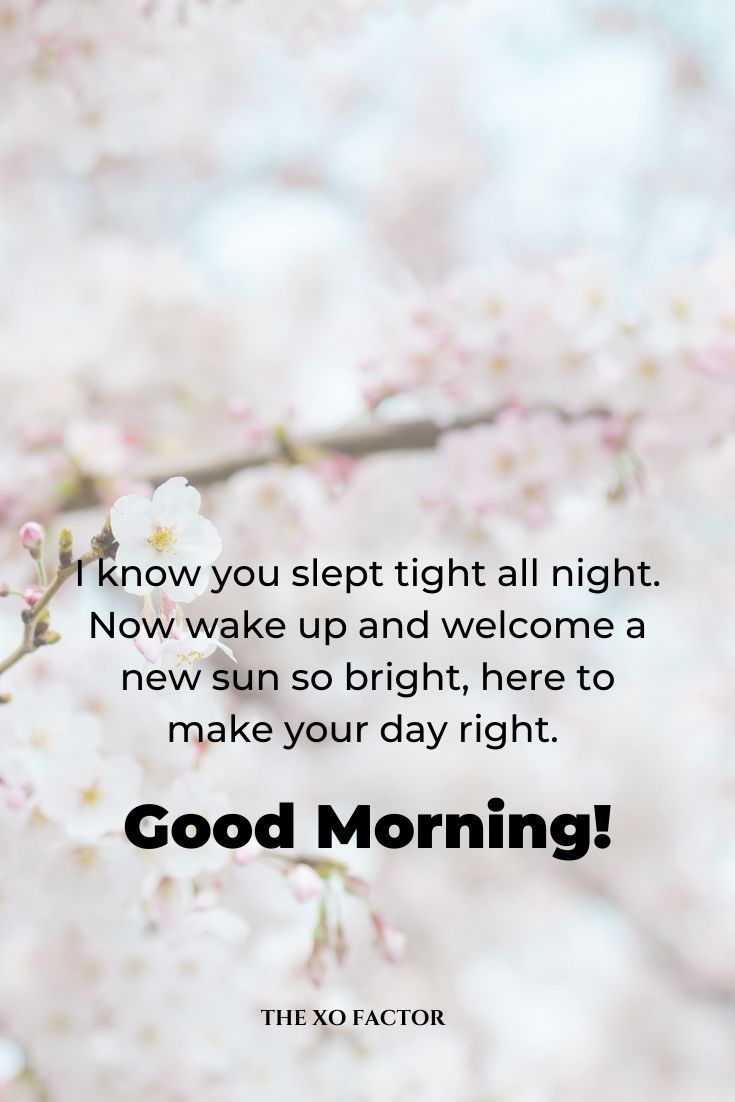 I know you slept tight all night. Now wake up and welcome a new sun so bright, here to make your day right. Good morning!
