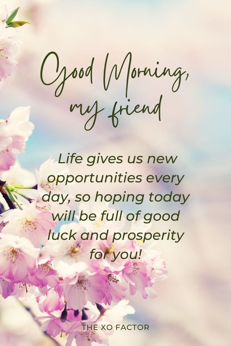 Good morning, my friend! Life gives us new opportunities every day, so hoping today will be full of good luck and prosperity for you!
