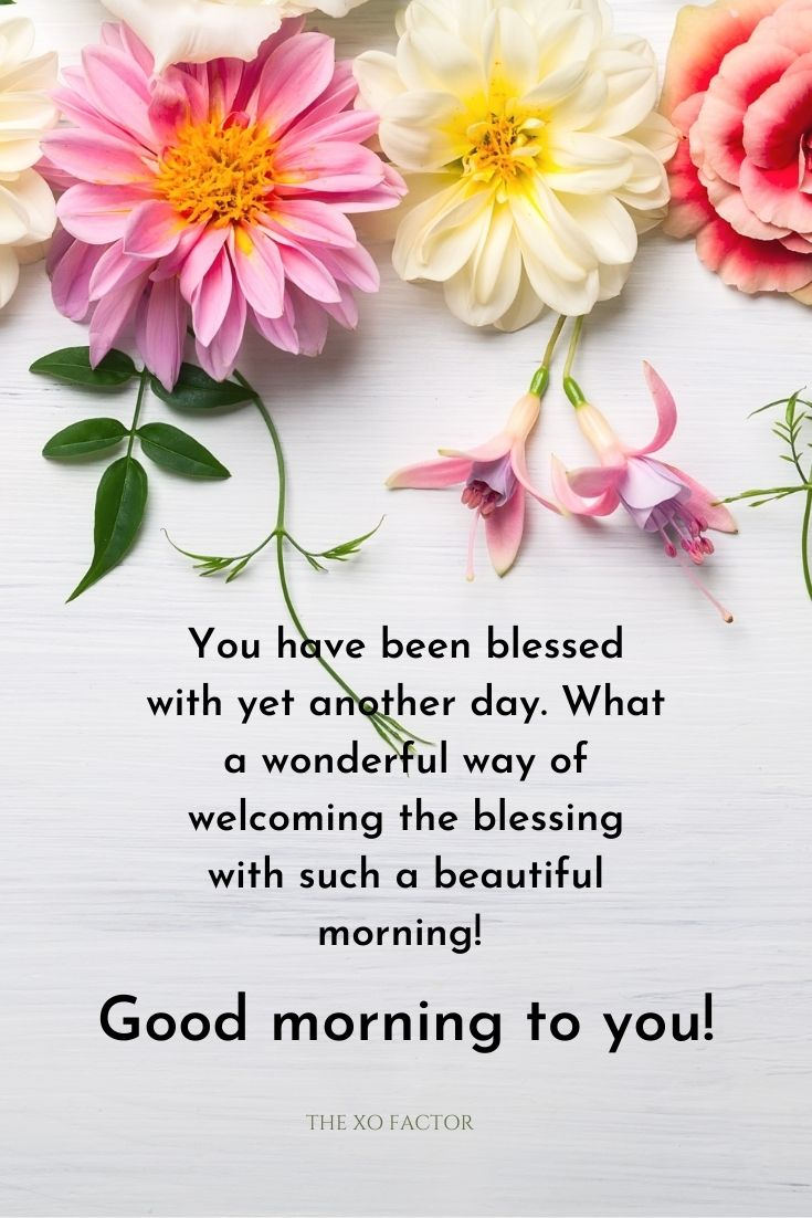 You have been blessed with yet another day. What a wonderful way of welcoming the blessing with such a beautiful morning! Good morning to you!
