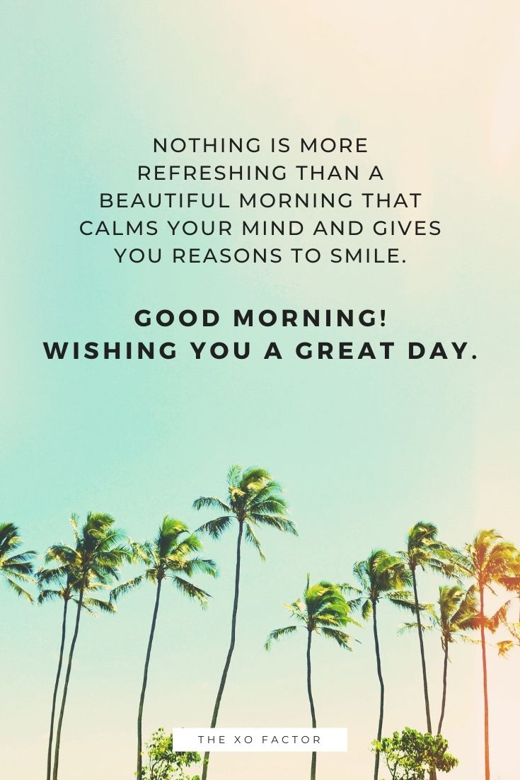 Nothing is more refreshing than a beautiful morning that calms your mind and gives you reasons to smile. Good morning! Wishing you a great day.