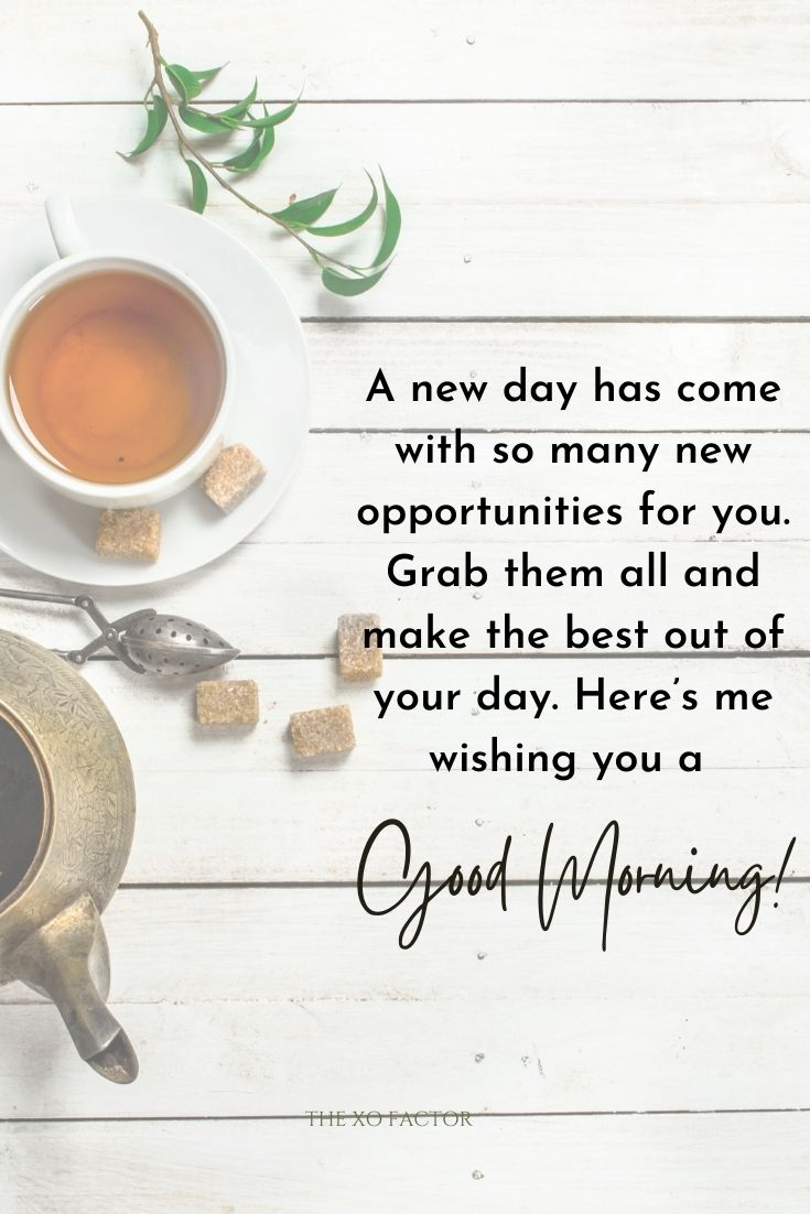 A new day has come with so many new opportunities for you. Grab them all and make the best out of your day. Here's me wishing you a good morning!