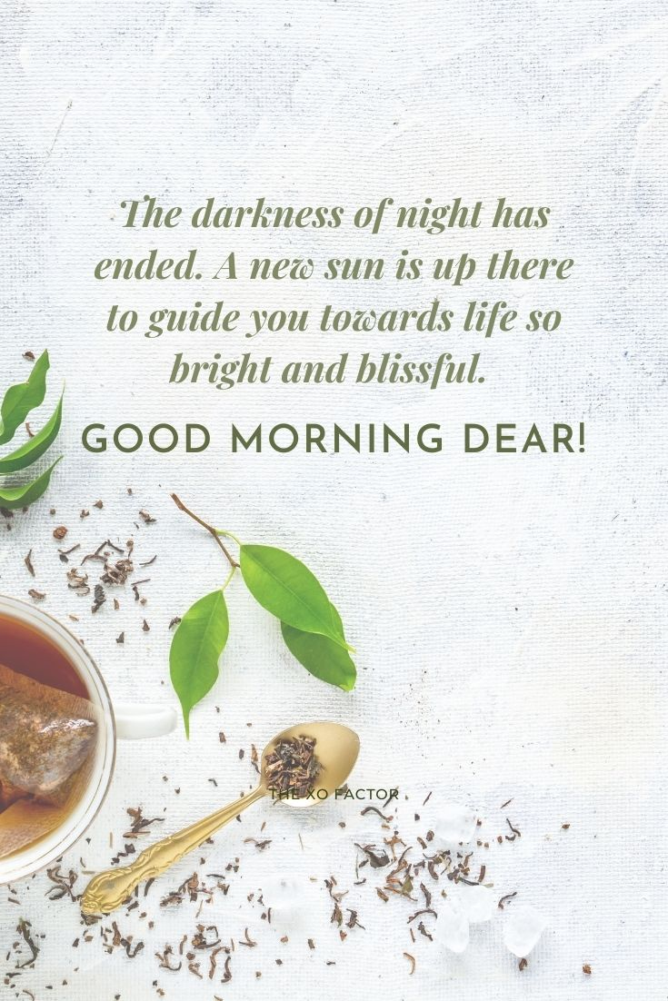 The darkness of night has ended. A new sun is up there to guide you towards life so bright and blissful. Good morning dear!