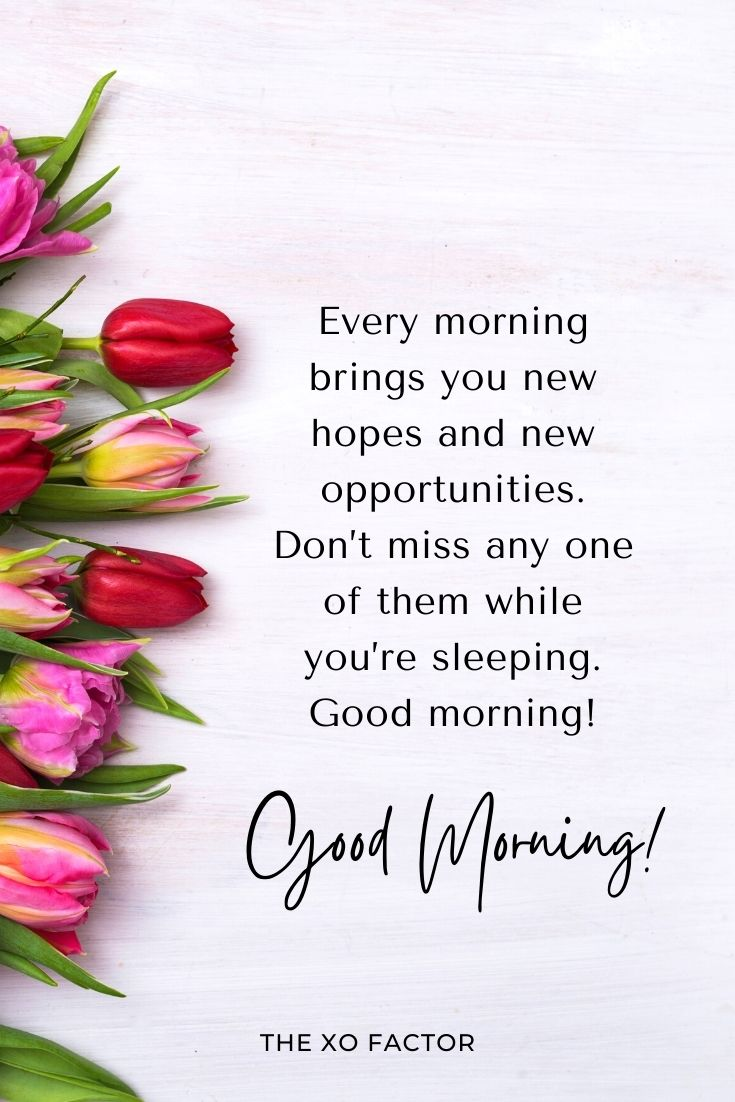 Every morning brings you new hopes and new opportunities. Don't miss any one of them while you're sleeping. Good morning!