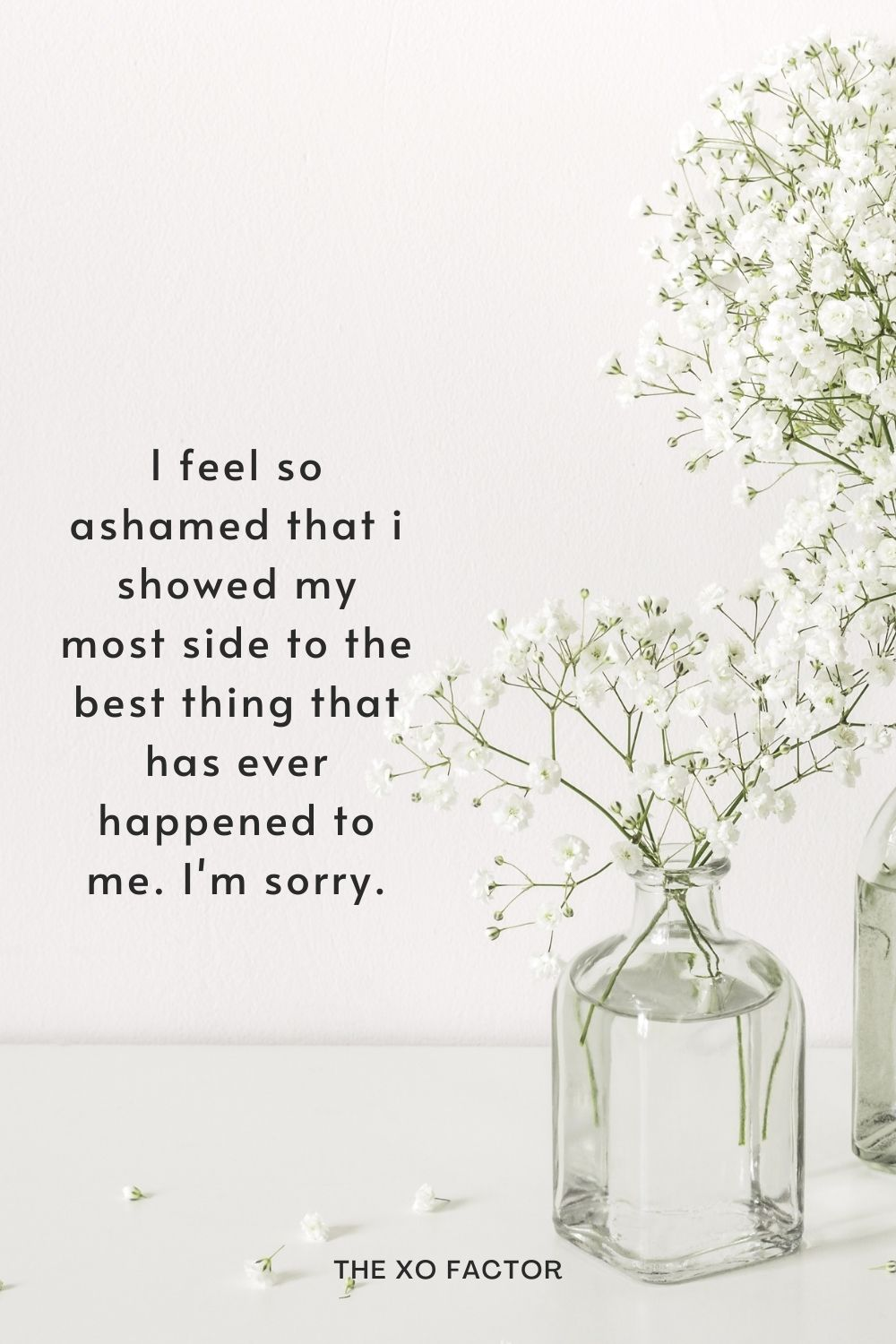 I feel so ashamed that i showed my most side to the best thing that has ever happened to me. I'm sorry.