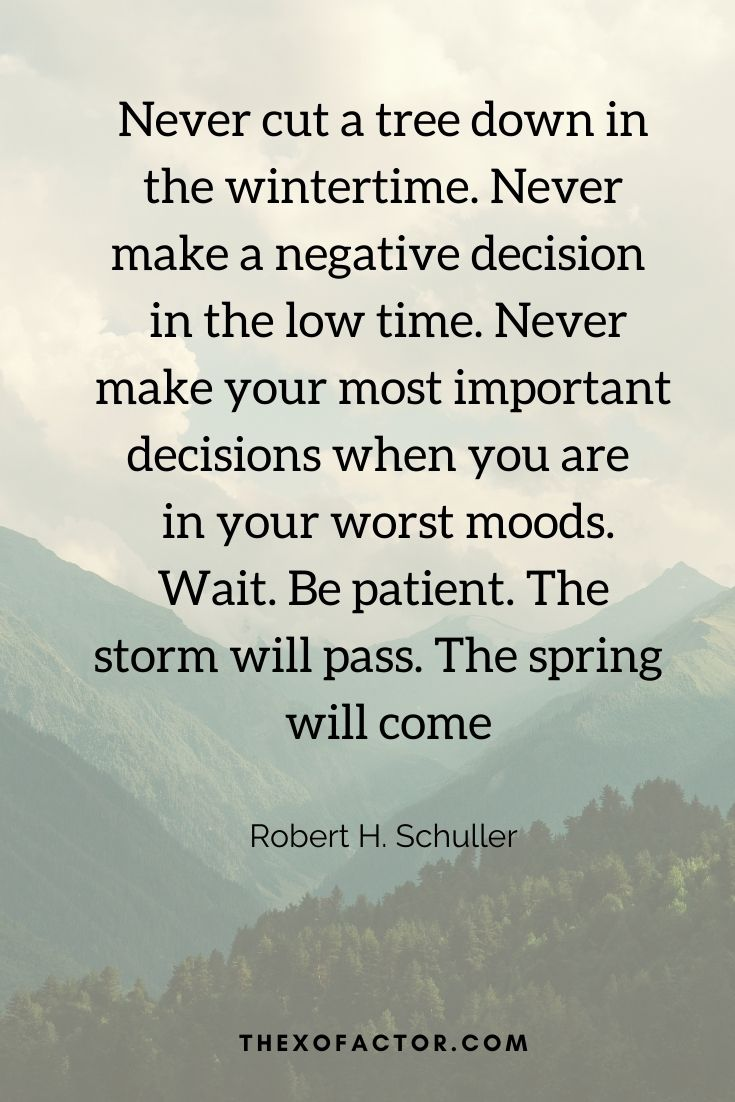 """Never cut a tree down in the wintertime. Never make a negative decision in the low time. Never make your most important decisions when you are in your worst moods. Wait. Be patient. The storm will pass. The spring will come"""" Robert H. Schuller"""