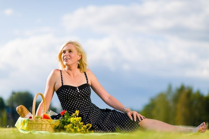 woman on a picnic