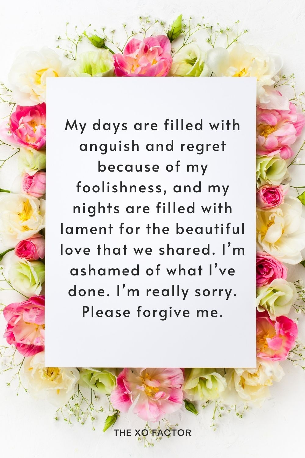 My days are filled with anguish and regret because of my foolishness, and my nights are filled with lament for the beautiful love that we shared. I'm ashamed of what I've done. I'm really sorry. Please forgive me.