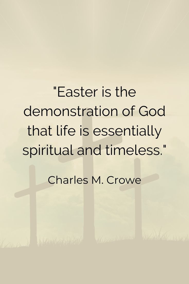 """Easter is the demonstration of God that life is essentially spiritual and timeless."""" Charles M. Crowe"""