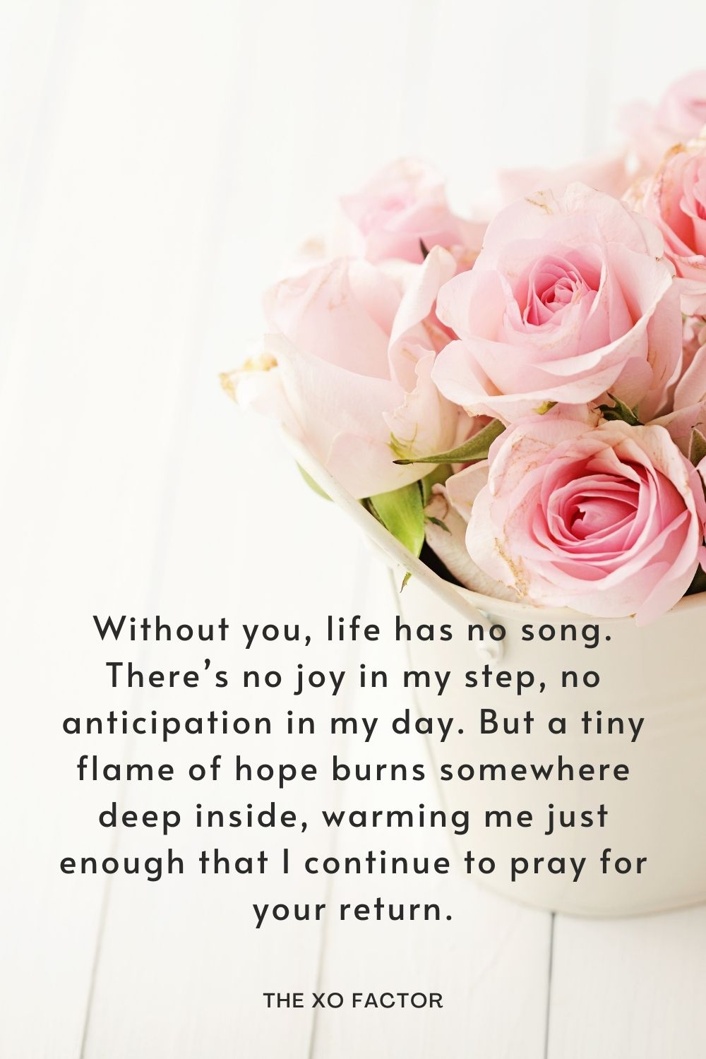 Without you, life has no song. There's no joy in my step, no anticipation in my day. But a tiny flame of hope burns somewhere deep inside, warming me just enough that I continue to pray for your return.