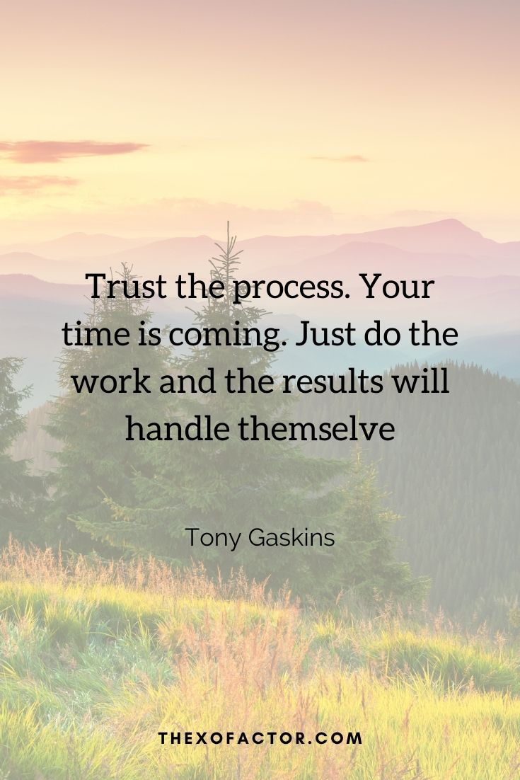 """Trust the process. Your time is coming. Just do the work and the results will handle themselves """" Tony Gaskins"""