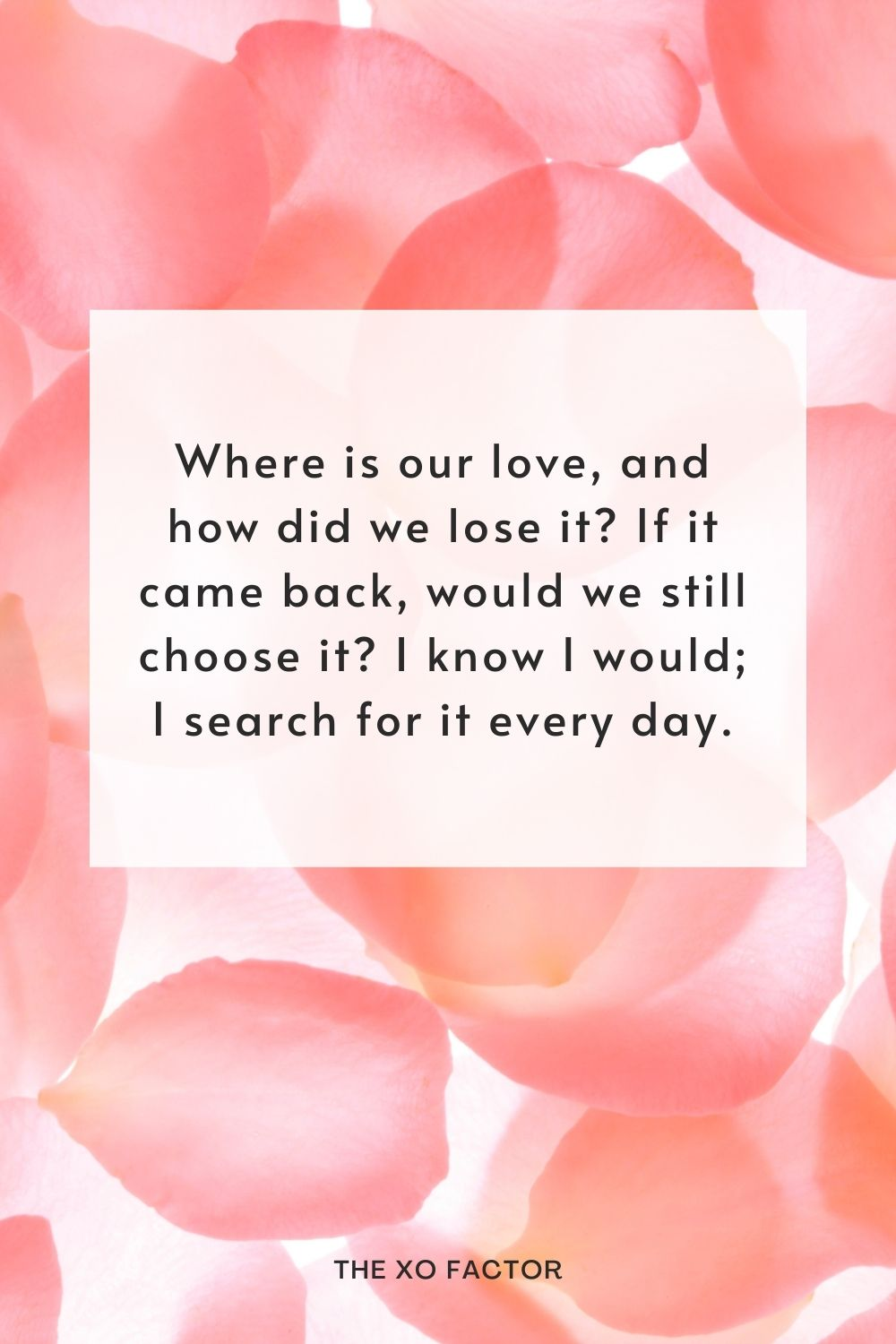Where is our love, and how did we lose it? If it came back, would we still choose it? I know I would; I search for it every day.