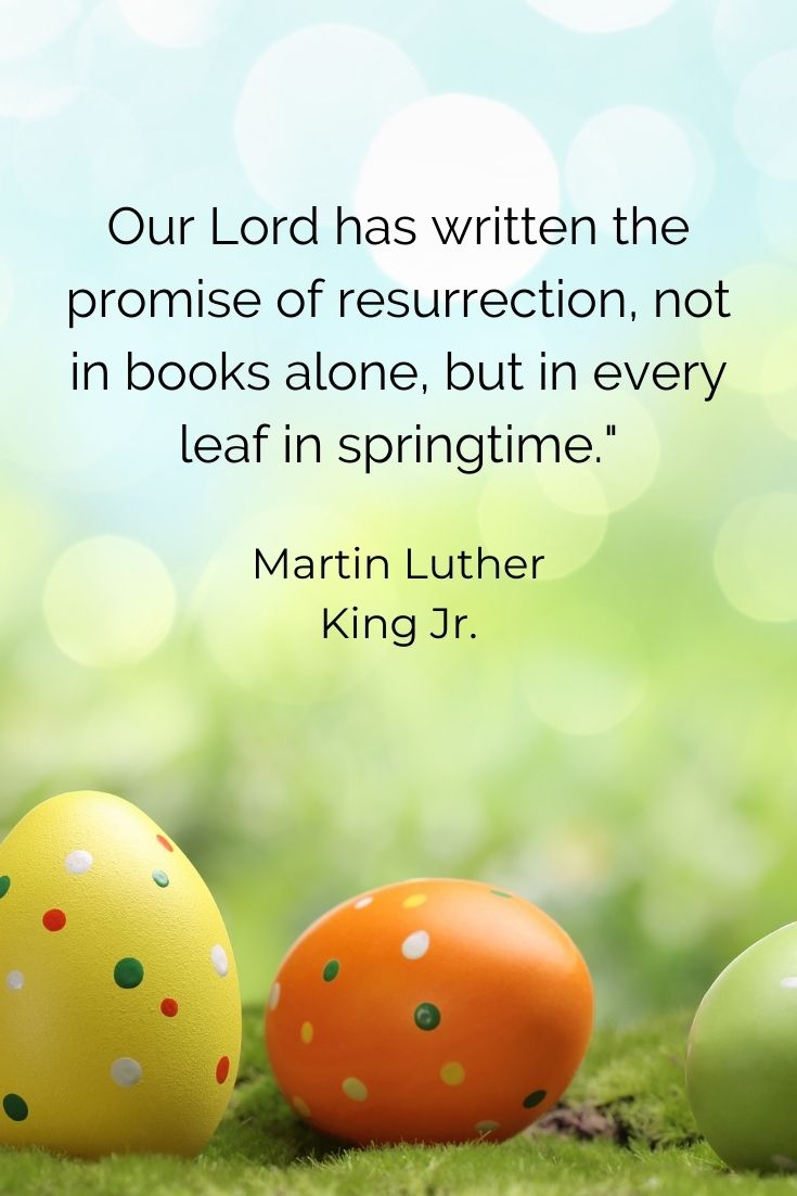 """Our Lord has written the promise of resurrection, not in books alone, but in every leaf in springtime."""" Martin Luther King Jr."""