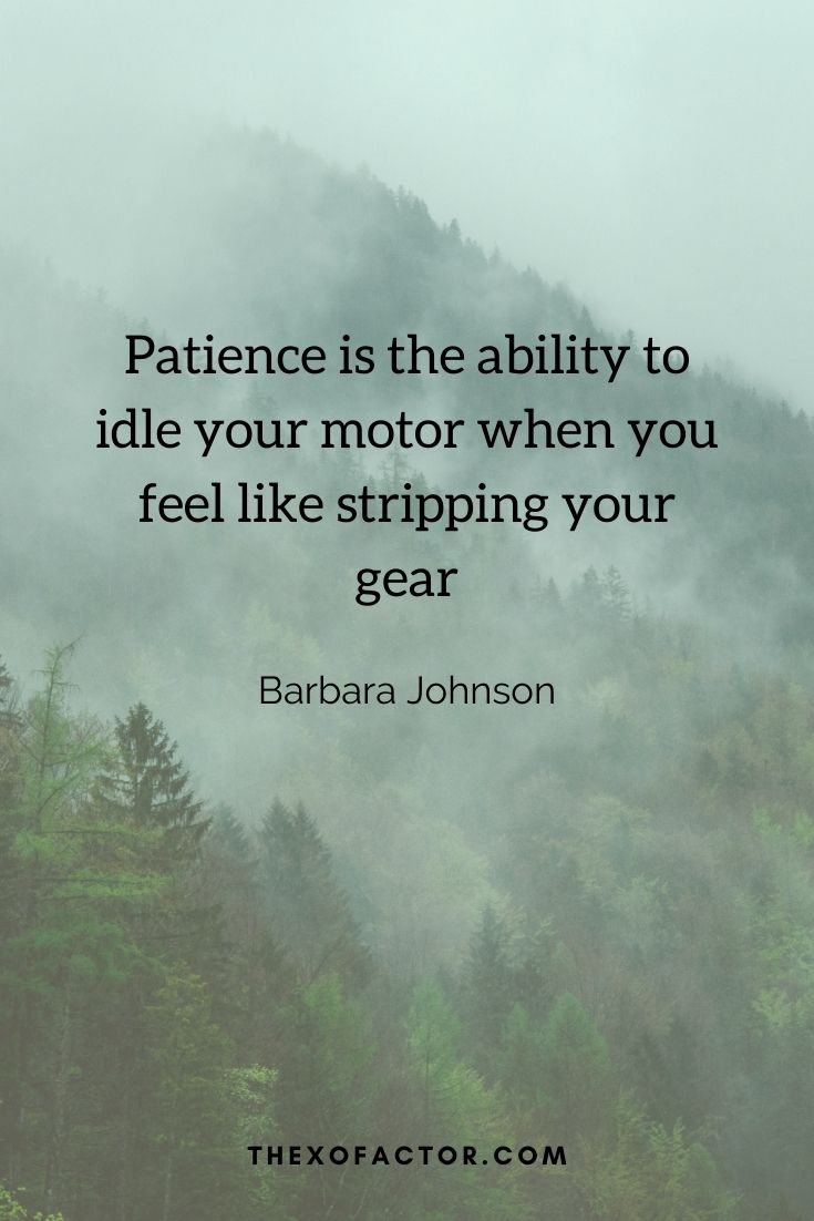 """Patience is the ability to idle your motor when you feel like stripping your gears.""""Barbara Johnson"""