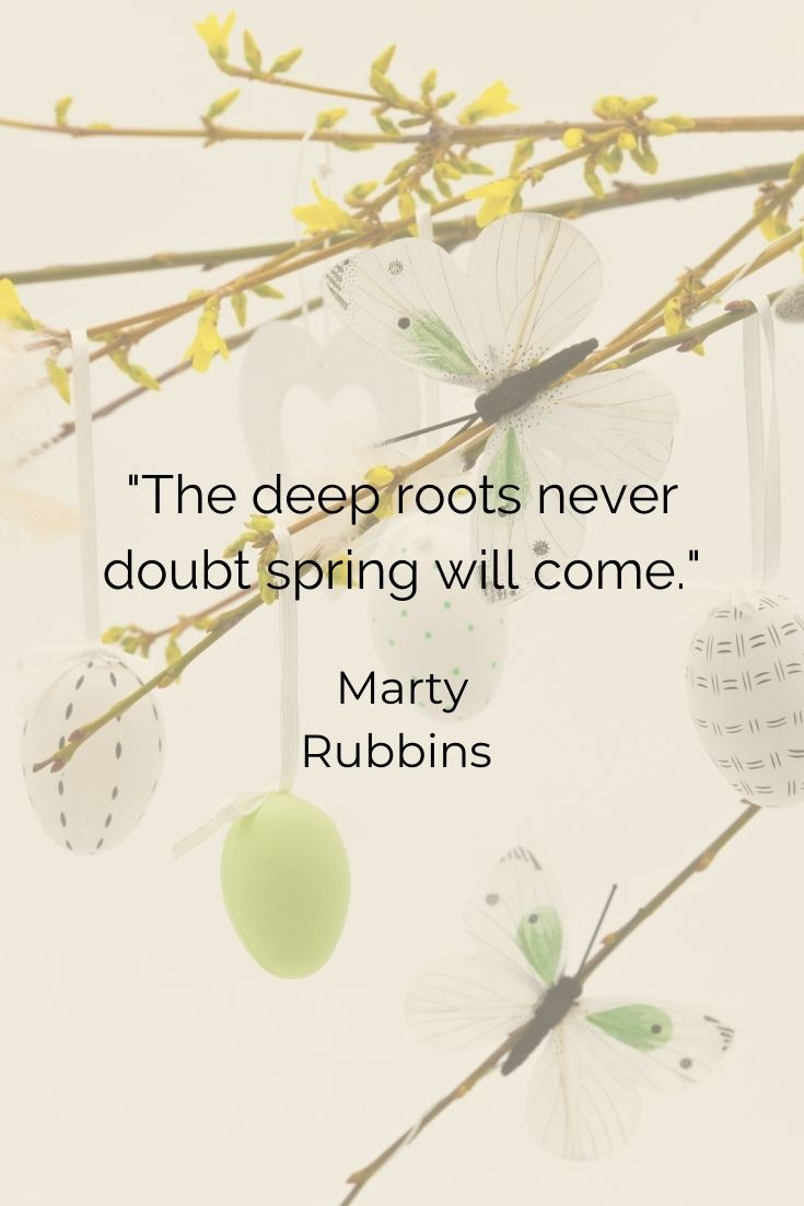 """The deep roots never doubt spring will come."""" Marty Rubins"""