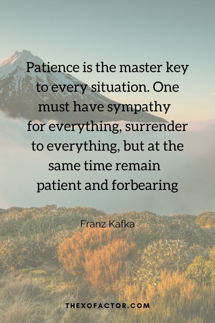 """Patience is the master key to every situation. One must have sympathy for everything, surrender to everything, but at the same time remain patient and forbearing"""" Franz kafka"""