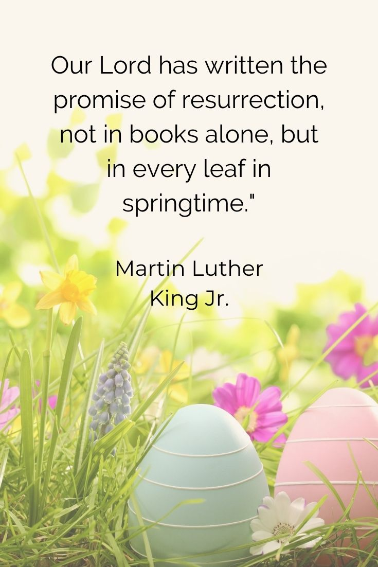 """Our Lord has written the promise of resurrection, not in books alone, but in every leaf in springtime."""" Martin Luther King Jr"""
