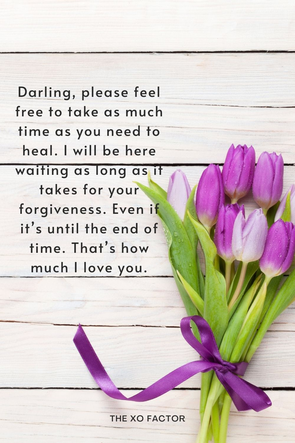 Darling, please feel free to take as much time as you need to heal. I will be here waiting as long as it takes for your forgiveness. Even if it's until the end of time. That's how much I love you.