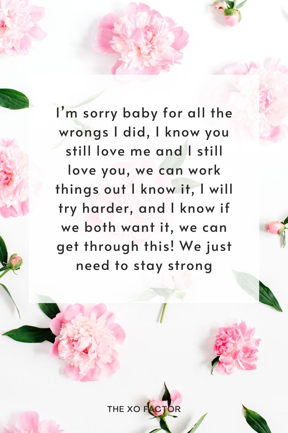 I'm sorry baby for all the wrongs I did, I know you still love me and I still love you, we can work things out I know it, I will try harder, and I know if we both want it, we can get through this! We just need to stay strong