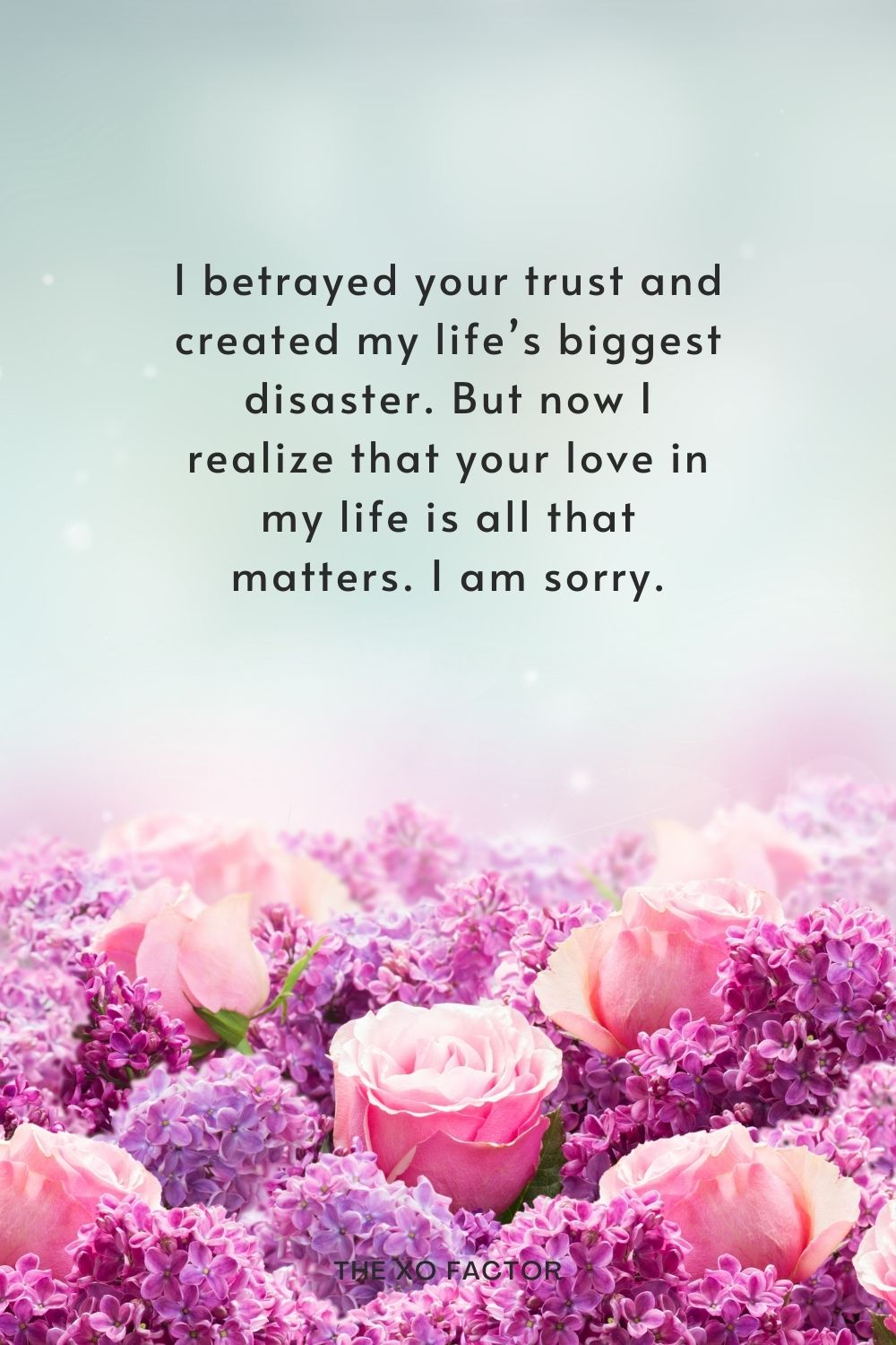 I betrayed your trust and created my life's biggest disaster. But now I realize that your love in my life is all that matters. I am sorry.