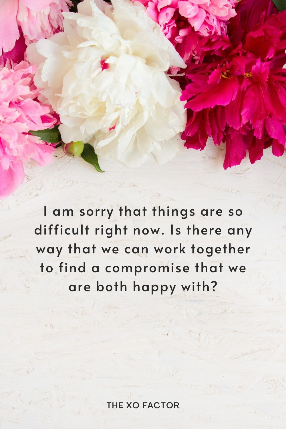 I am sorry that things are so difficult right now. Is there any way that we can work together to find a compromise that we are both happy with?