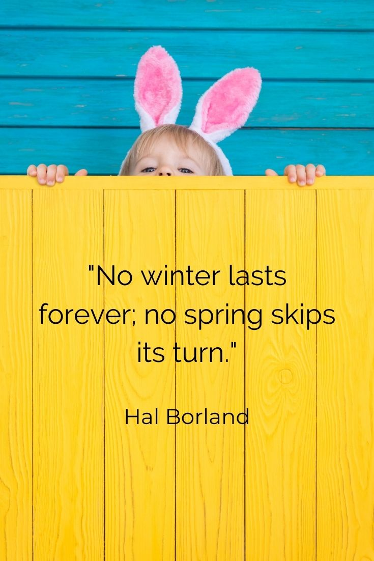 "No winter lasts forever; no spring skips its turn."" Hal Borland"