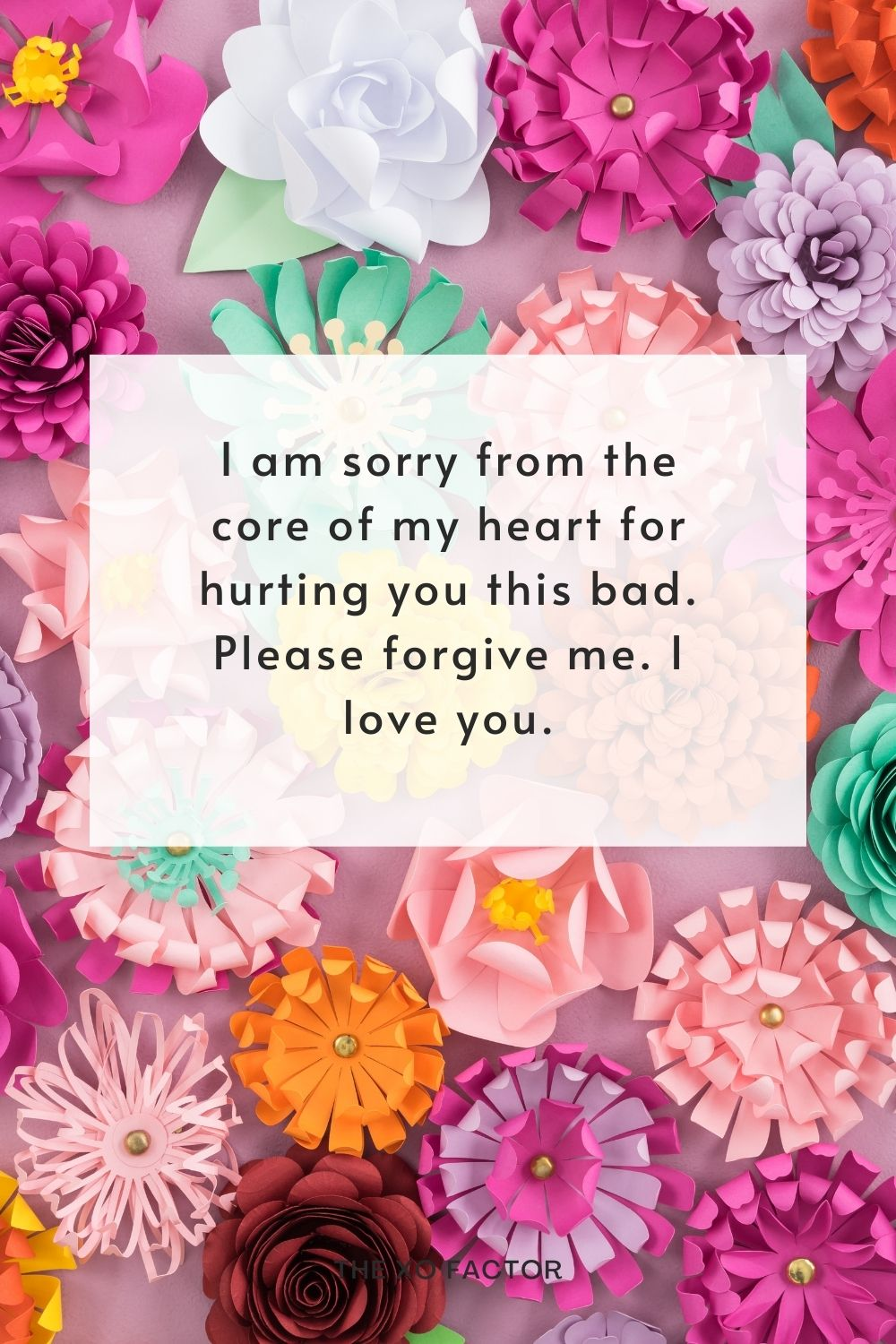 I am sorry from the core of my heart for hurting you this bad. Please forgive me. I love you.